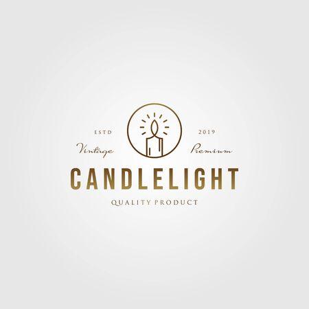 vintage line art Candle Light Flame logo gold color vector emblem Design Illustration