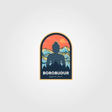 the magnificent borobudur temple logo vector wonderful indonesia illustration