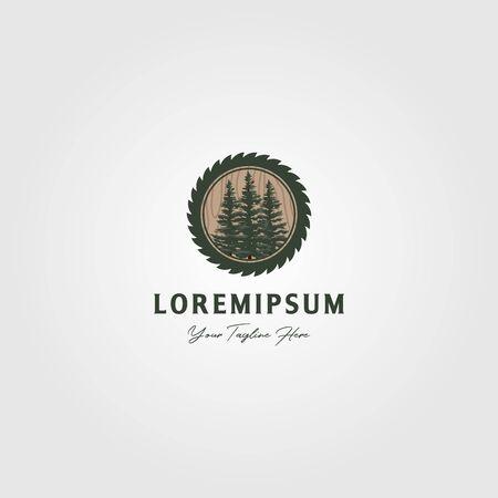 pine tree grinding logo vector vintage illustration design