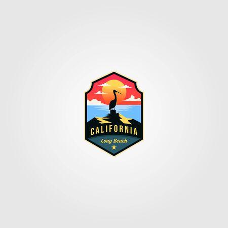 california beach logo vector pelican bird illustration design Stock Illustratie