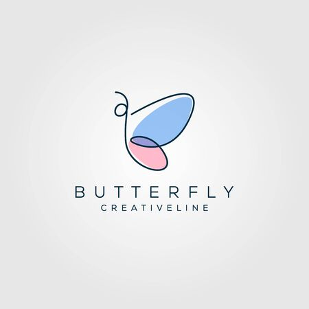 Colorful butterfly letter b line art logo. Overlay transparent sheets style Vettoriali
