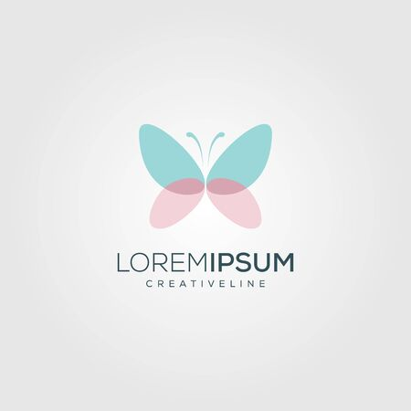 Colorful butterfly logo. Overlay transparent sheets style. Vettoriali