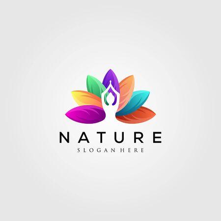colorful leaf logo with yoga silhouette vector illustration Illustration
