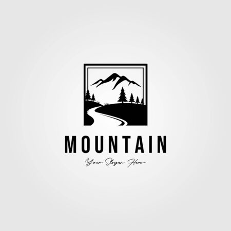 minimalist mountain outdoor logo vector illustration