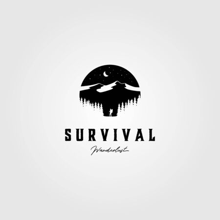 vintage survival adventure logo outdoor vector illustration design