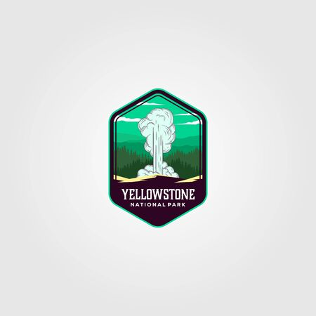 geyser eruption on yellowstone national park logo vector illustration design