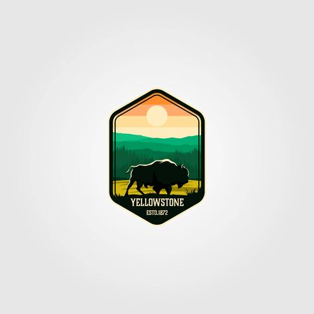 bison on yellowstone national park logo vector illustration