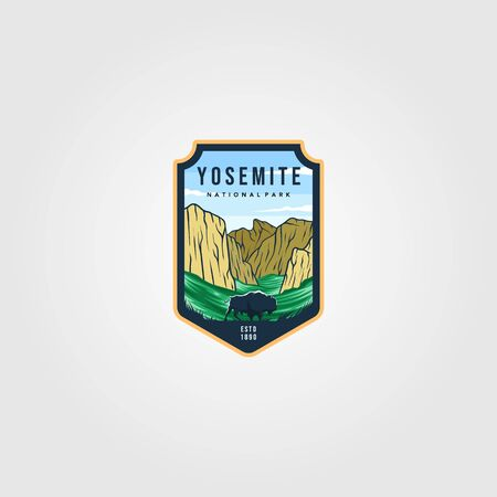 wild bison on yosemite national park logo outdoor vector illustration
