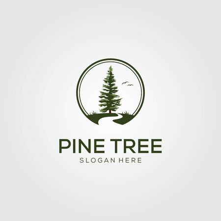 pine tree with river logo vector Illustration