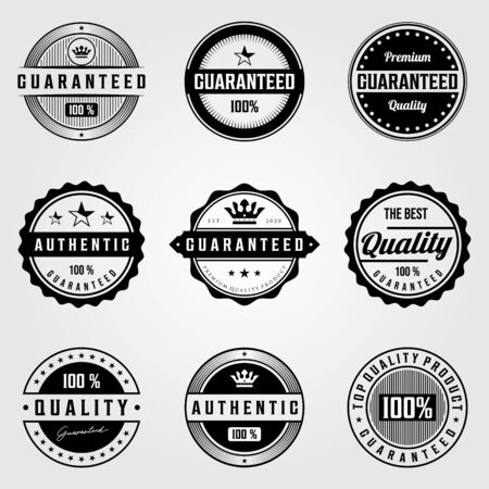 set of vintage premium retro premium guaranteed badges logo illustration vector design