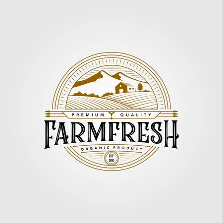 vintage farm fresh organic product logo vector illustration design