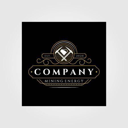 vintage mining line art logo emblem vector badge retro illustration design