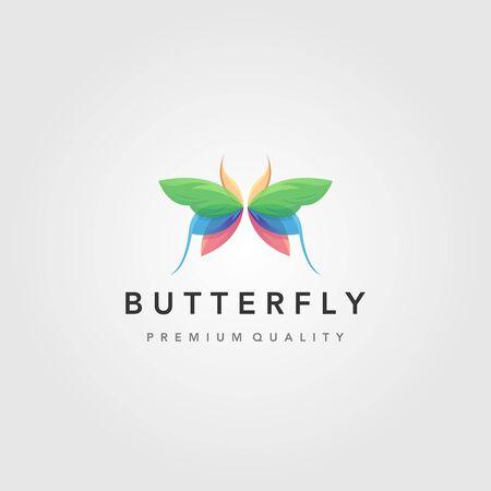 colorful flying butterfly logo vector illustration design