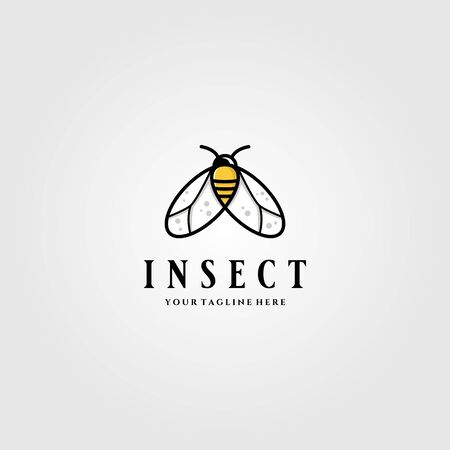 Little Insect Flies or bee logo vector illustration design