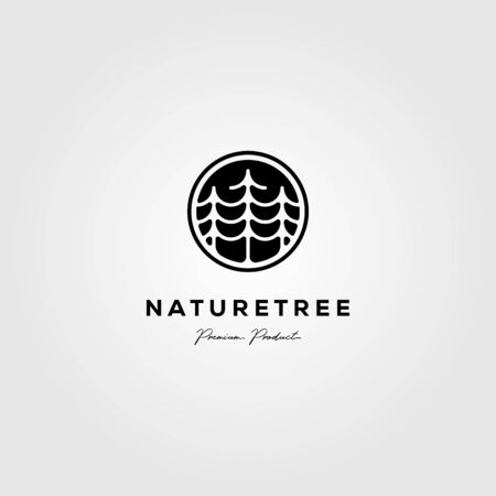 nature tree company pine logo vector emblem illustration design Ilustração