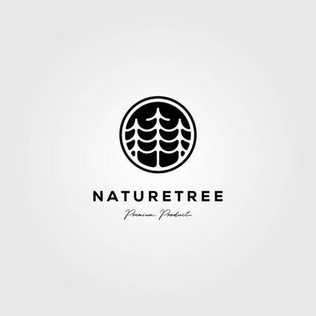 nature tree company pine logo vector emblem illustration design Illustration