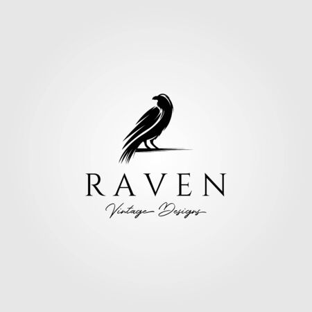 raven or crow bird logo vector illustration design