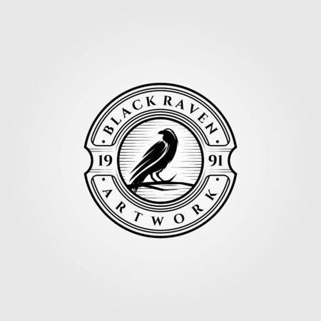 vintage black raven or crow logo vector illustration design