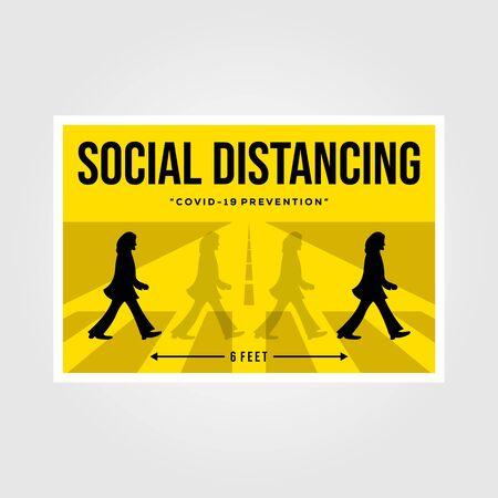Banten, Indonesia, 27 March 2019: minimalist social distancing flat vector poster illustration design, the beatles inspiration Vettoriali