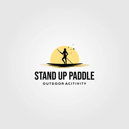 stand up paddle vintage logo vector silhouette illustration design Logo