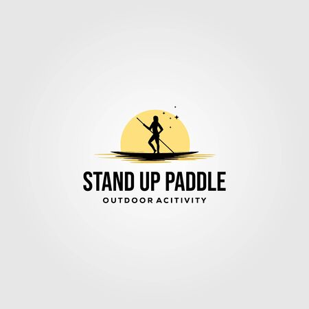 stand up paddle vintage logo vector silhouette illustration design