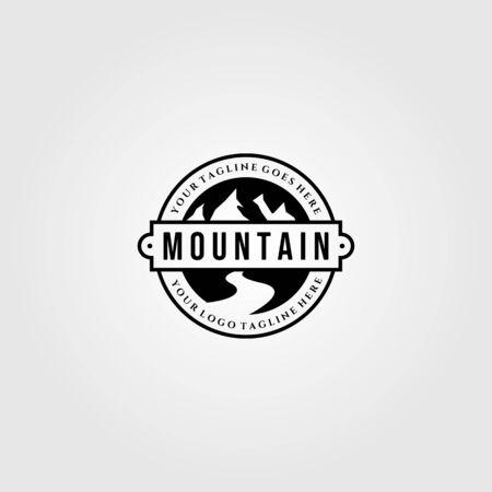vintage mountain view logo designs with river symbol vector