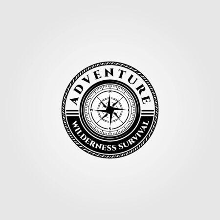 compass logo vector wilderness adventure survival emblem illustration design Çizim