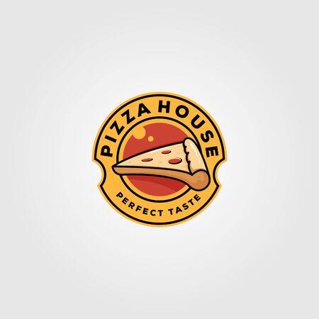 pizza house vintage logo food vector illustration design