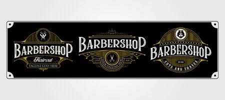 set of Barbershop vintage logo design. Vintage lettering premium illustration on dark background.