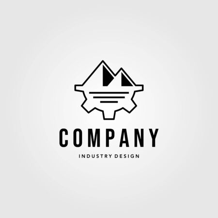industry company gear logo with mountain symbol vector illustration Çizim
