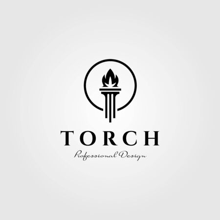 flame torch logo pillar symbol vector illustration design Çizim