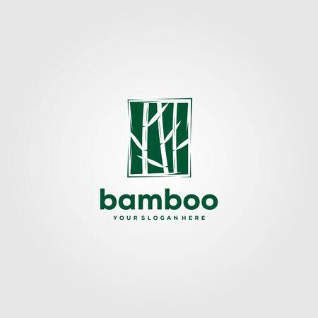 bamboo green plant logo vector illustration design