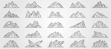 set of mountains line art vector illustration design, minimalist line art style