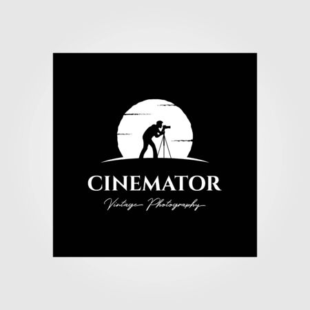 cinematography photography vintage logo with moon background vector illustration design