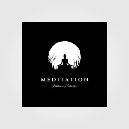 yoga meditation logo vector moon background illustration design, vintage logo style