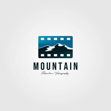 film tape logo landscape of mountain vector illustration design Çizim