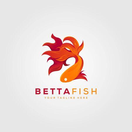 betta fish fire modern logo vector illustration design