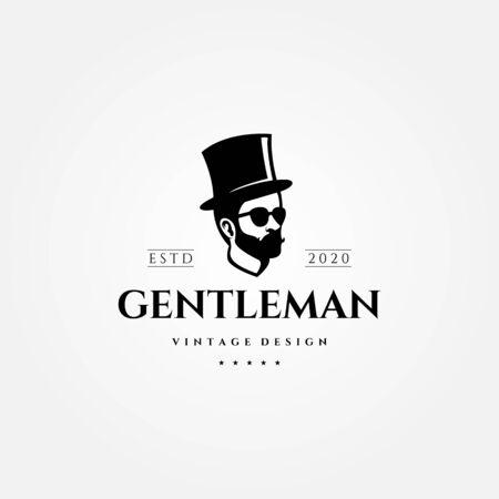gentleman vintage logo man with hat vector illustration design Çizim