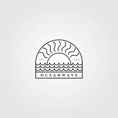 minimalist ocean wave and sun line art vector label emblem design