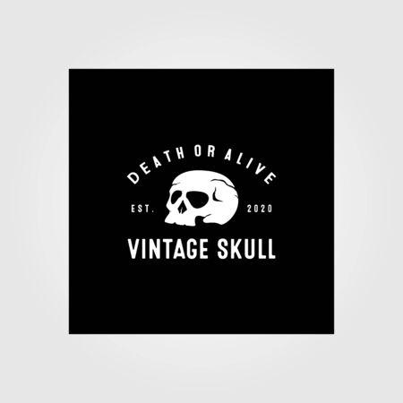 vintage skull logo vector illustration design