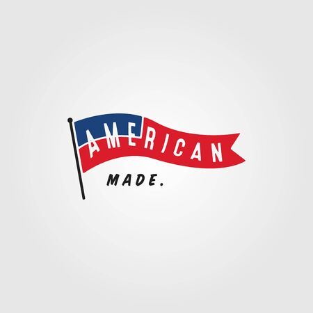 american flag vintage minimalist logo vector illustration design
