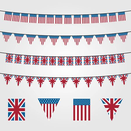 bunting flags decoration vector symbol, american or union jack bunting illustration design