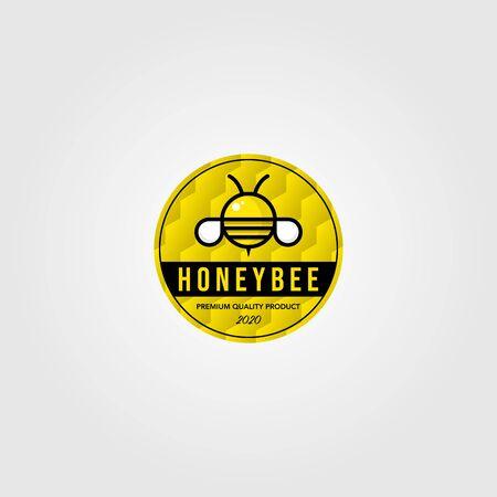 honeybee cute logo village farm vector illustration design