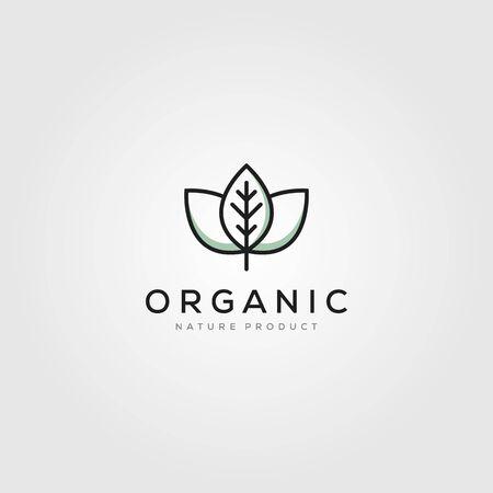 line art leaf organic logo minimalist vector illustration design