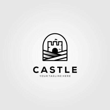 minimalist castle vintage logo vector illustration design