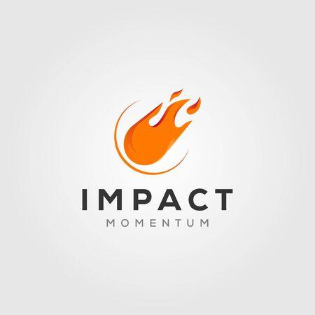 comet impact meteor logo vector icon illustration design