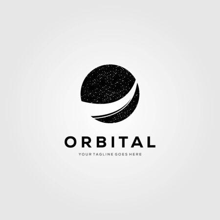 planet orbit logo meteor tail vector symbol illustration design Çizim