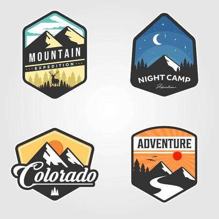 set of adventure traveling logo vector outdoor illustration design