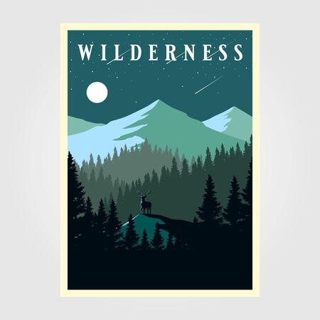 adventure mountain camp poster wilderness vector illustration design