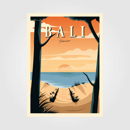 bali beach sunset vintage travel poster vector illustration design